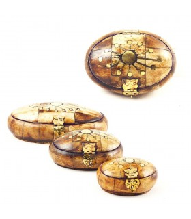 Oval bone box - lined Velvet - 3 sizes - quality