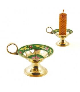 Anello candela bronzo supporto - cuore floreale - 8 cm