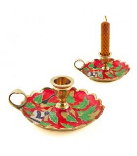 Candela anello bronzo - candelabro floreale - 12 cm-qualità