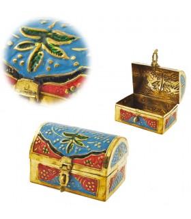 Kofferraum bemalte Bronze - Multicolor - Blumenmuster - 10 cm