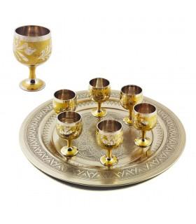 Óculos de jogo de chá 6 Bronze - Design Floral - 7,5 centímetros
