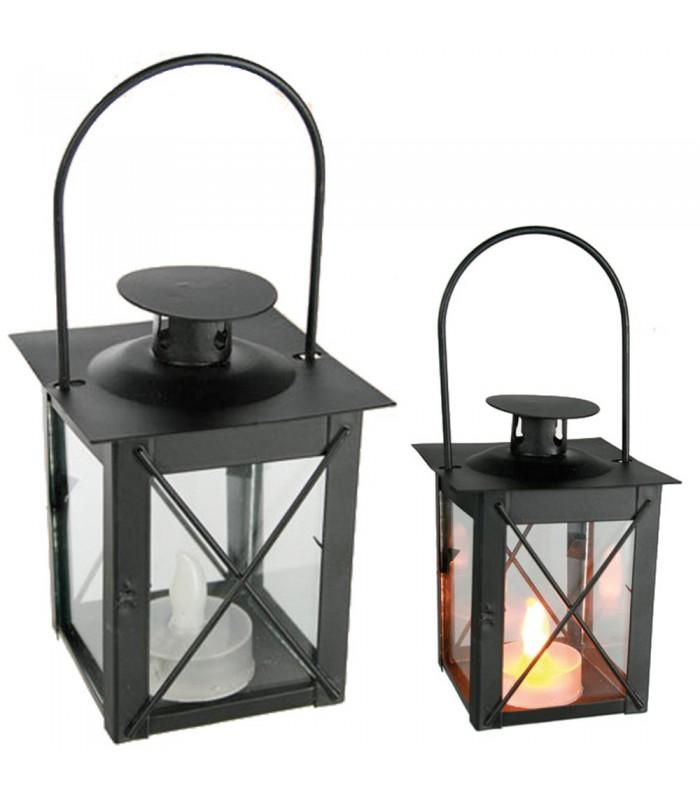 Farol Forja Negro Mini - Vela Led - Sin peligro de Fuego - 17 cm