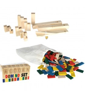 Domino multicolored wood - 200 parts - barriers - preferred
