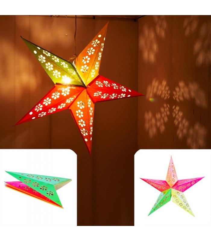 Lámpara Papel Estrella - Plegable - Modelo Multicolor Brillante