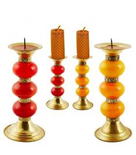 Detentor de resina vela - 3 bolas - 2 cores - Quali