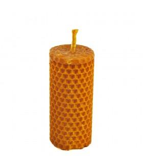 Vela cera de abelha virgem mão crafted redondo - 4 x 9 cm