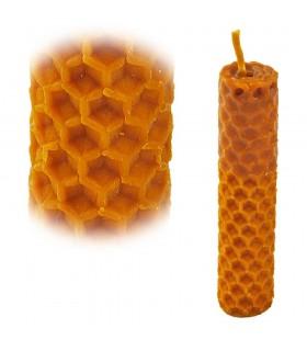 Mão crafted redondo de cera de abelha virgem - vela 2 x 9 cm