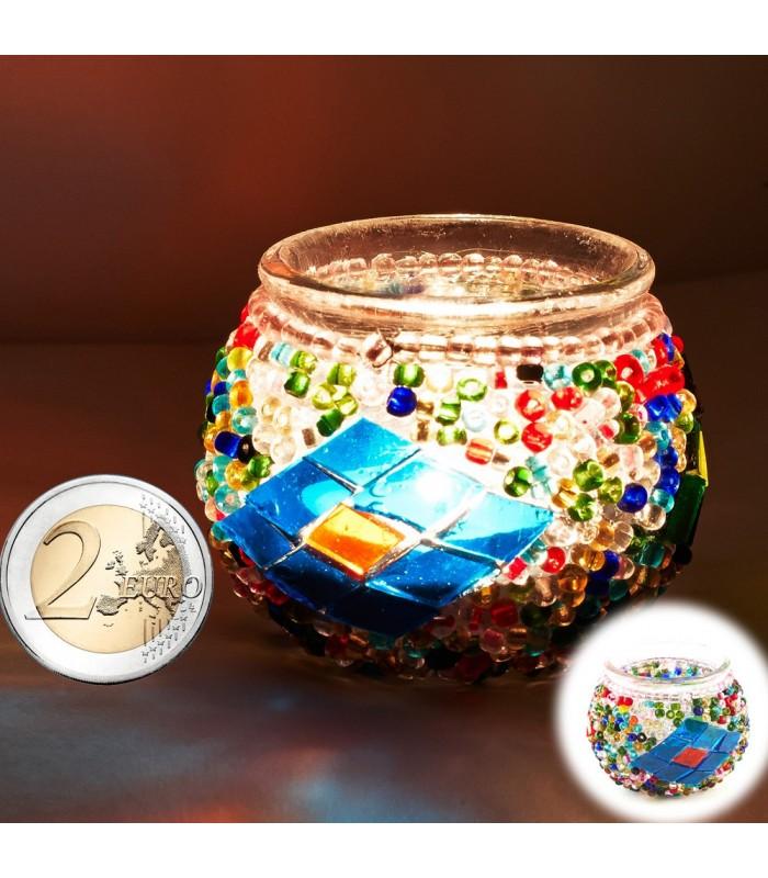Portavelas Turco Mini-Cristal Murano -Artesania Turca-Tamaño 1