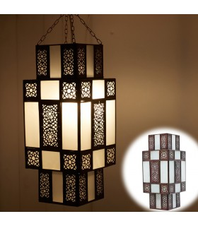 Lámpara Arabe Diseño Damas - Blanco Opaco - Calado Arabe 50 cm