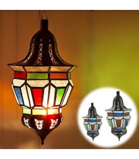 Lámpara Arabe Trapecio - Cristales Colores - 2 Tamaños