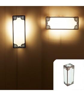 Applicare alla spina doppia di arabo - 30 cm - vetro - bianco opaco-