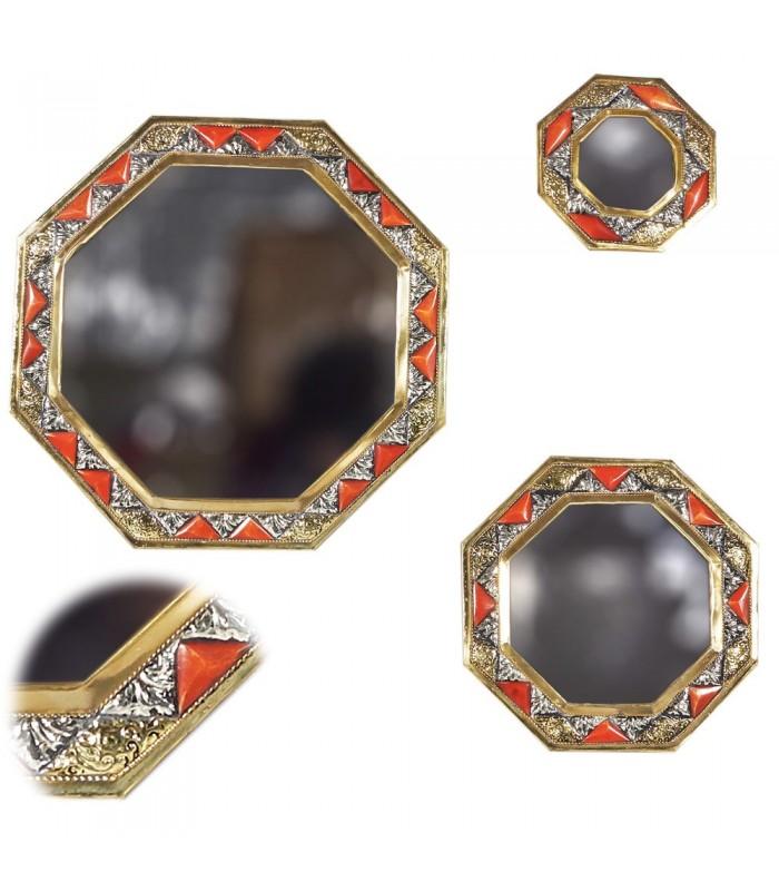 Game 3 Mirrors Octogonal-Alpaca Bone and Brass - Arab Design