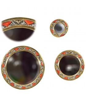 Игра 3 круглые зеркала - Альпака кости и латуни - дизайн Арабский