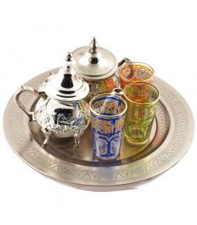 Ciotola di arabo - set teiera di tè - vassoio 30 cm - 3 bicchieri - zucchero