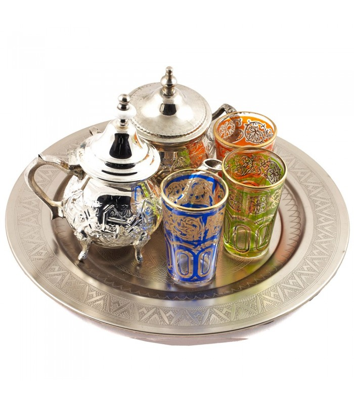 Juego de Té Arabe- Tetera - Bandeja 30 cm - 3 Vasos - Azucarero