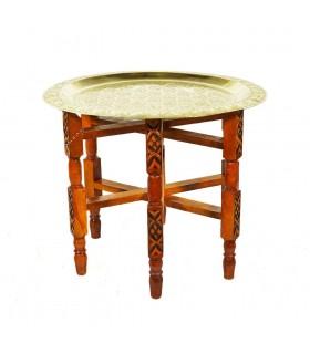 Mesa de Latón Para Tetería - Patas Madera Plegables -desde 40 cm