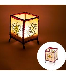 Porta candele pelle quadrato - dipinte con l'henné - vari modelli