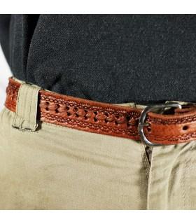 Cinturón Caballero Artesanal - Cuero Natural Grabado - 125 cm