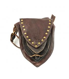 Artisan Triângulo cintura - 100% Couro - 3 bolsos