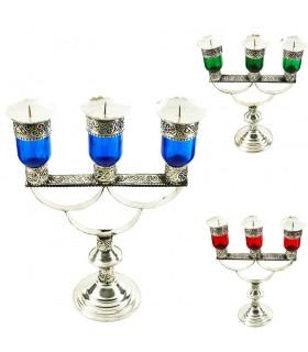 Kerzenständer drei Arme Alpaka und Kristall - 22 cm - Modell 2