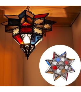 Lampara Plafón Árabe - Cristales Multicolor - Calado Árabe