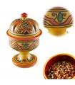 Arab Dome Incensário - cerâmica vidrada - 4 cores - 17 centímetr