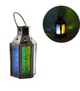 Lantern candle Mini hex - multicolored crystals - 12 cm