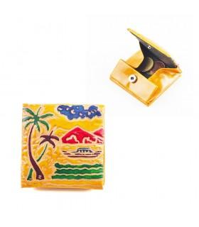Bolsa de couro Cuadrada - Cores decorados e Relevos-7x7 cm