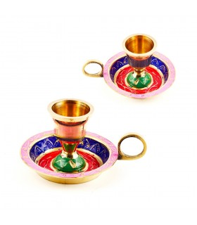Multicolored ring candle holder - candlestick design Floral - 8 cm