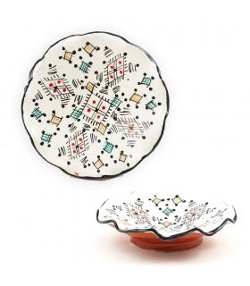 Artigiano piatto ondulato in ceramica - vari colori - - 15 cm