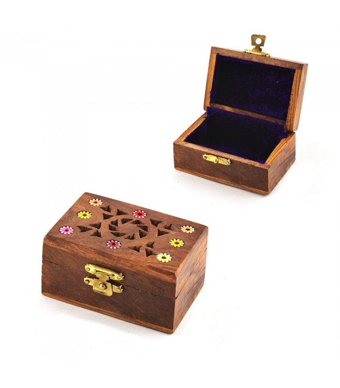 Embedded Wood Box Flowers - Velvet Lined - 7.5 cm