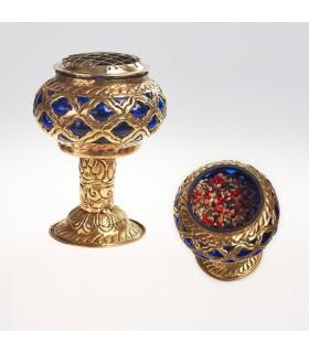 Incensiere in bronzo e vetro - griglia - edizione limitata - 15 cm
