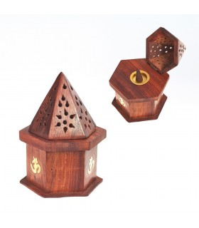 Incensario Pirámide OHM-Compartimento Baúl-Madera Calada-Conos