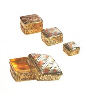 Drei Kisten, Messing und Alpaka Tressen - Modell Platz