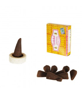 Goloka  Incense Cones - 12 units - Includes Base