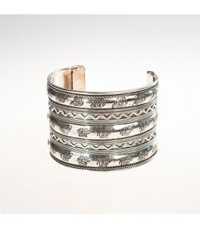 Rilievi e braccialetto d'argento larghezza - elefanti - incisione