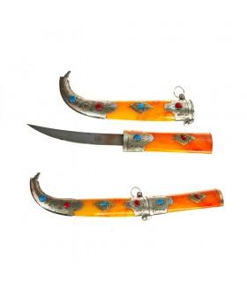 Кинжал с Альпака - оранжевый кости ручка - дело 28 см
