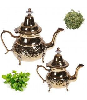 Engraved Golden teapot - design Arabic - 4 sizes - with or without legs