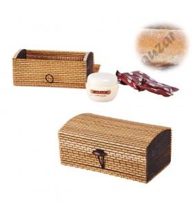 Ambar pedra e creme - Deluxe Qualidade - Formato Baul presente