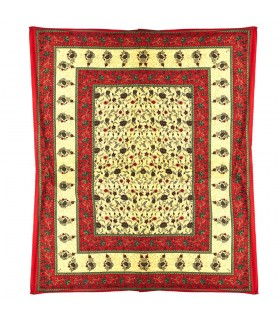 Fabric cotton India - valance Floral frame - hand crafted-240 x 210 cm