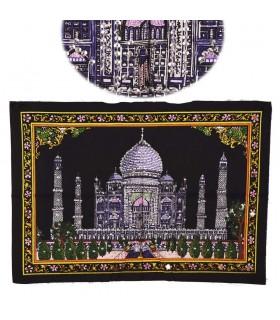 Tessuto di cotone India - Moschea Taj Mahal - paillettes-55 x 40 cm.