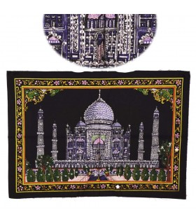 Stoff Baumwolle Indien - Moschee Taj Mahal - Pailletten-55 x 40 cm.