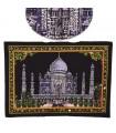 Tela Algodon India- Mezquita Taj Mahal -Lentejuelas-55 x 40 cm.