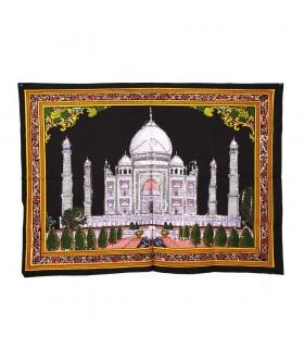 Stoff Baumwolle Indien - Moschee Taj Mahal - Pailletten-100 x 75 cm.