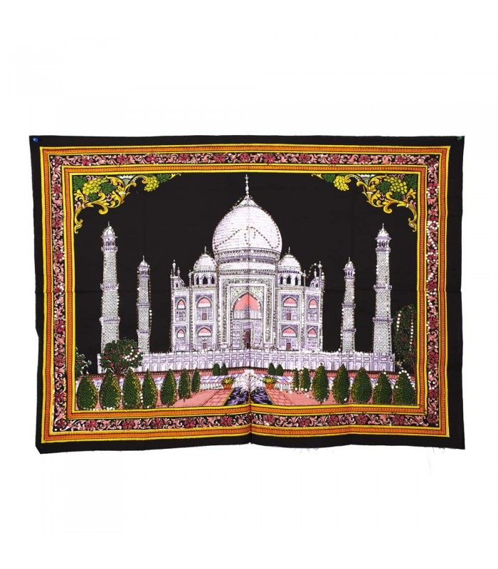 Tela Algodon India- Mezquita Taj Mahal -Lentejuelas-100 x 75 cm.