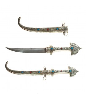 Handmade Arabic dagger made in Alpaca and stone - 39 cm