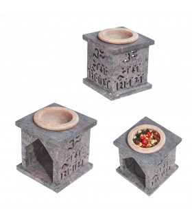 Quemador Esencias Mandala - Piedra Jabonosa - 7 cm