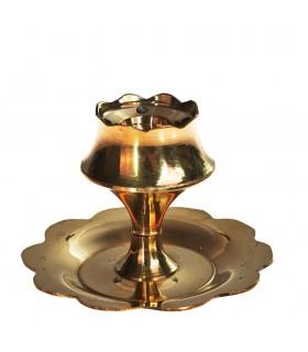 Бронзовая курильница стержней или конусов - цветок лотоса - дизайн 4 см