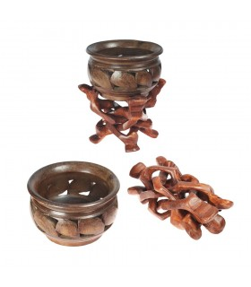 Wooden Bowl set - folding legs - fruit - 17 cm