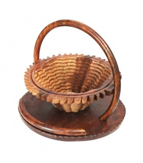 Wooden folding basket - design heart - 30 cm